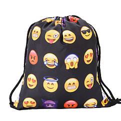 Універсальний спортивний / міський складаний портативний (65 г) рюкзак-мішок / рюкзак-торбинка / рюкзак-торба СМАЙЛИ