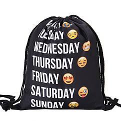 Універсальний спортивний / міський складаний портативний (65 г) рюкзак-мішок / рюкзак-торбинка / рюкзак-торба ДНІ ТИЖНЯ