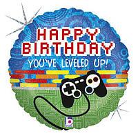 """Happy Birthday джойстик 18"""" (45 см) круг Grabo Италия шар фольгированный"""