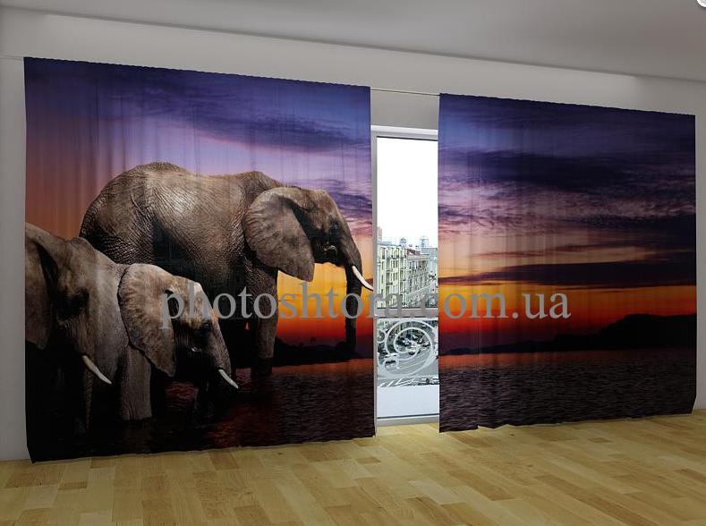 "Панорамні Фотошторы ""Слони"" 270 х 500 см"