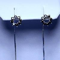 Серебряные серьги-протяжки Веночек 5826-1-р(ч)