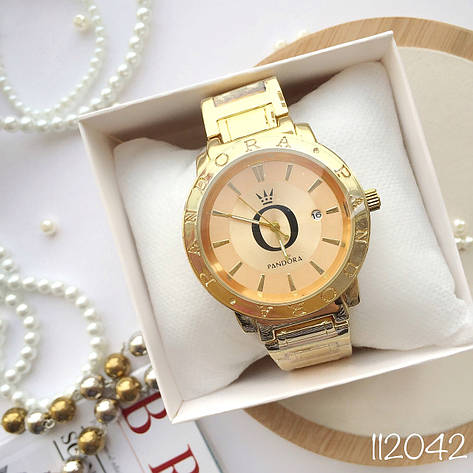Женские наручные часы в стиле Pandora золотые. Наручные кварцевые часы из нержавеющей стали. Годинник жіночій, фото 2