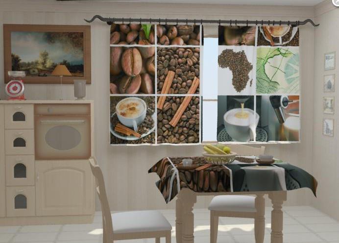 """Фотошторы для кухни """"Кофе Африка"""" 150 х 250 см"""