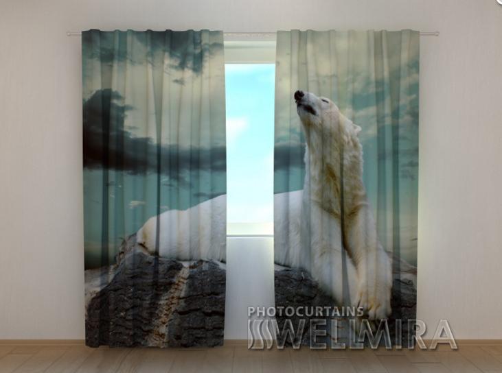 """Фотошторы """"Белый медведь"""" 250 х 260 см"""