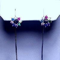 Срібні сережки з різнокольоровими каменями 5826-1-р(цв)