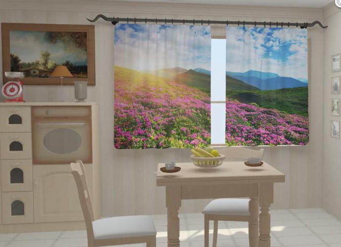 """Фотошторы для кухни """"Цветы и горы"""" 150 х 250 см"""