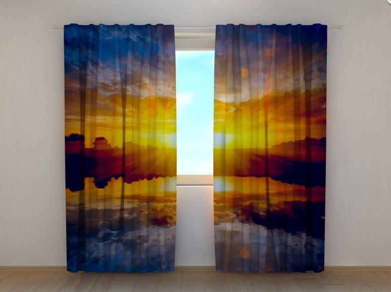 """Фотошторы """"Захід сонця над озером"""" 250 х 260 см"""