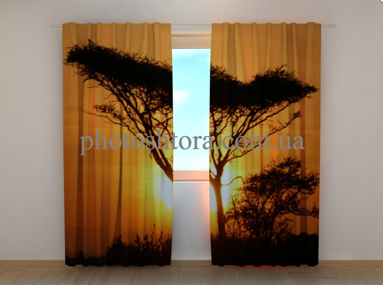 """Фотошторы """"Дерево на закате"""" 250 х 260 см"""