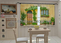 "Фотошторы для кухни ""Фасад в цветах для кухни"" 150 х 250 см"