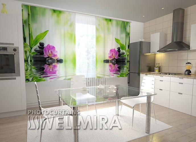"""Фотошторы для кухни """"Орхидеи и солнце"""" 150 х 250 см"""