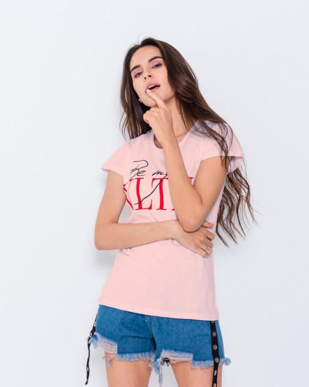 Розовая летняя футболка с надписями S