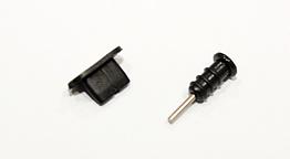 Заглушки силиконовые защитные от грязи, комплект: аудио Mini-Jack 3.5 mm + Micro-USB / iPhone 5, 6 / Type-C Micro-USB, ЧЁРНЫЙ