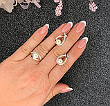 Набір з золотом в сріблі і білим перлами Пауліна, фото 5