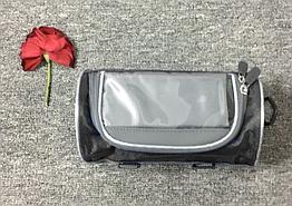Сумка нарульная / на руль / на плечо каркасная водоотталкивающая 600D с сенсорным отделением для телефона ЧЁРНЫЙ