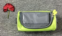 Сумка нарульная / на руль / на плечо каркасная водоотталкивающая 600D с сенсорным отделением для телефона ЗЕЛЁНЫЙ