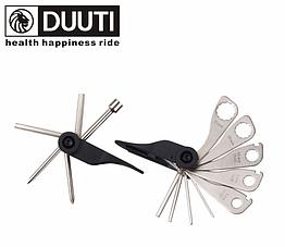 Велосипедний мультитул / набір інструментів 15-в-1 «DUUTI» TL-17 з двох частин + накидні ключі