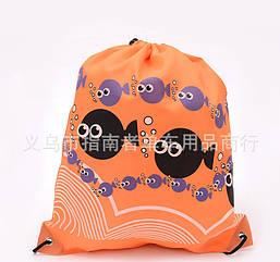Універсальний спортивний / міський / пляжний складаний портативний (45 г) рюкзак-мішок / торбинка / торба РИБКИ ПОМАРАНЧЕВІ