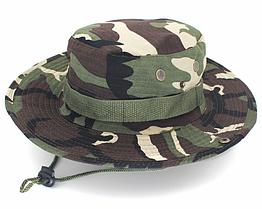 Полевая шляпа / панама широкополая для охоты / рыбалки / защита от солнца и насекомых ± сетчатая вентиляция СПЛОШНАЯ, ЗЕЛЁНЫЙ КАМУФЛЯЖ