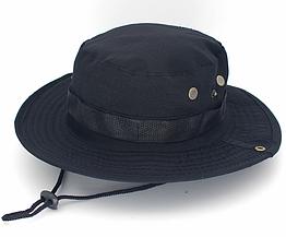 Полевая шляпа / панама широкополая для охоты / рыбалки / защита от солнца и насекомых ± сетчатая вентиляция СПЛОШНАЯ, ЧЁРНЫЙ