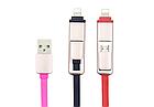 Кабель USB 2-в-1 переходник Micro USB + Lightning лапша «рулетка» / в бобине / телескопический, фото 3