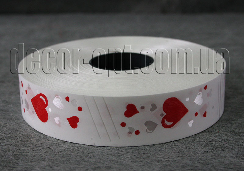 Лента с красными сердцами 3см/100 м