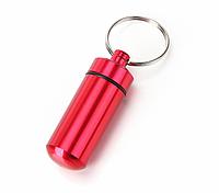 """Капсула / контейнер / брелок АЛЮ мини герметичная походная для хранения мелочей / """"адресовка"""" для собак КРАСНЫЙ"""