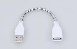 Кабель USB / переходник / удлинитель жёсткий металлический сегментный 20 см (USB папа - USB мама)