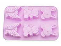 Форма для кексов Fissman розовая зайчик/медведь/бабочка BW-6646.6