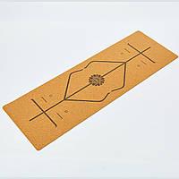 Коврик для йоги Пробковый каучуковый двухслойный 4мм Record FI-7156-10 (размер 1,83мx0,61мx4мм, пробковое дерево, каучук, с разметкой, рыжий) Код