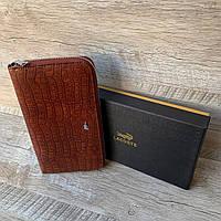 Мужской кожаный кошелёк-клатч Lacoste с тиснением под кожу крокодила, фото 1
