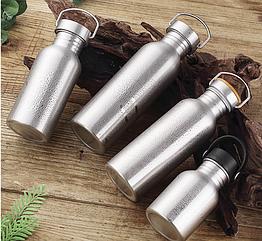 Фляга / бутылка походная / туристическая из нержавеющей стали, однослойная 1000ml / 750ml / 500ml / 350ml