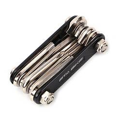 """Велосипедный мультитул """"ETA BIKE"""" / набор инструментов 10-в-1 хромованадиевая сталь ЧЁРНЫЙ / КРАСНЫЙ / СИНИЙ ЧЁРНЫЙ"""