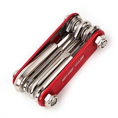 """Велосипедный мультитул """"ETA BIKE"""" / набор инструментов 10-в-1 хромованадиевая сталь ЧЁРНЫЙ / КРАСНЫЙ / СИНИЙ КРАСНЫЙ"""