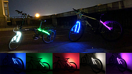 Підсвітка діодна ілюмінація «WIM» на виделку / верхні пір'я велосипеда (живлення 2 х 2032)