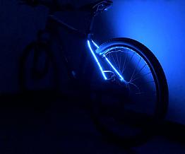 Подсветка диодная иллюминация «WIM» на вилку / верхние перья велосипеда (питание 2 х 2032) СИНИЙ