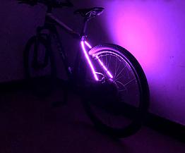 Подсветка диодная иллюминация «WIM» на вилку / верхние перья велосипеда (питание 2 х 2032) ФИОЛЕТОВЫЙ