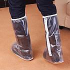 Водонепроницаемые ливневые мото / вело бахилы / калоши / галоши / чехлы для обуви / драйстепперы ПВХ (ВЫСОКИЕ), фото 3
