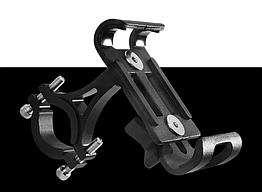 Крепление вело на руль для телефона АЛЮ с высокими бортами (для толстых устр-в, толщина до 15 мм) ± ПОВОРОТНОЕ СТАТИЧНЫЙ, ЧЁРНЫЙ