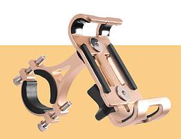 Крепление вело на руль для телефона АЛЮ с высокими бортами (для толстых устр-в, толщина до 15 мм) ± ПОВОРОТНОЕ СТАТИЧНЫЙ, МЕДЬ