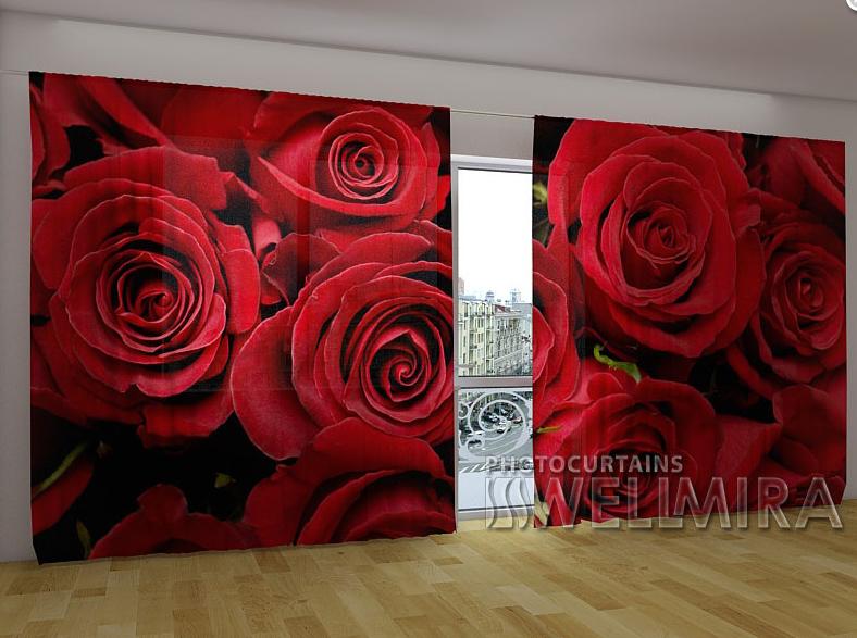 """Панорамні Фото штори """"Розы 2"""" 270 х 500 см"""