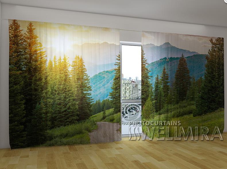 """Панорамні Фото штори """"Солнце и горы"""" 270 х 500 см"""