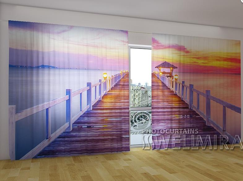 """Панорамні Фото штори """"Восход солнца на море"""" 270 х 500 см"""