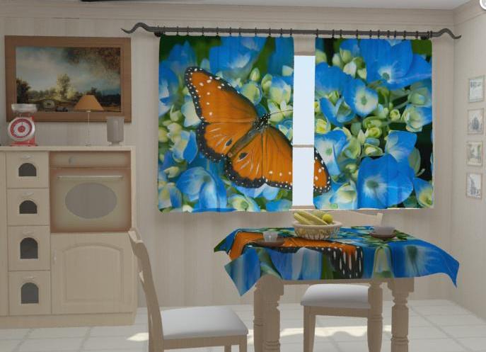 """Штори для кухні """"Бабочка на голубом"""" 150 х 250 см"""
