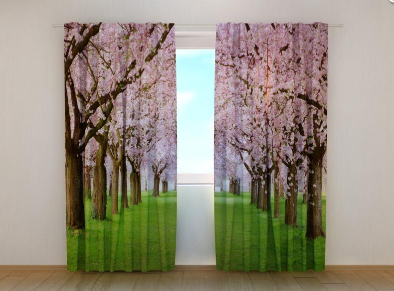 """Фото штори """"Рожеві дерева"""" 250 х 260 см"""