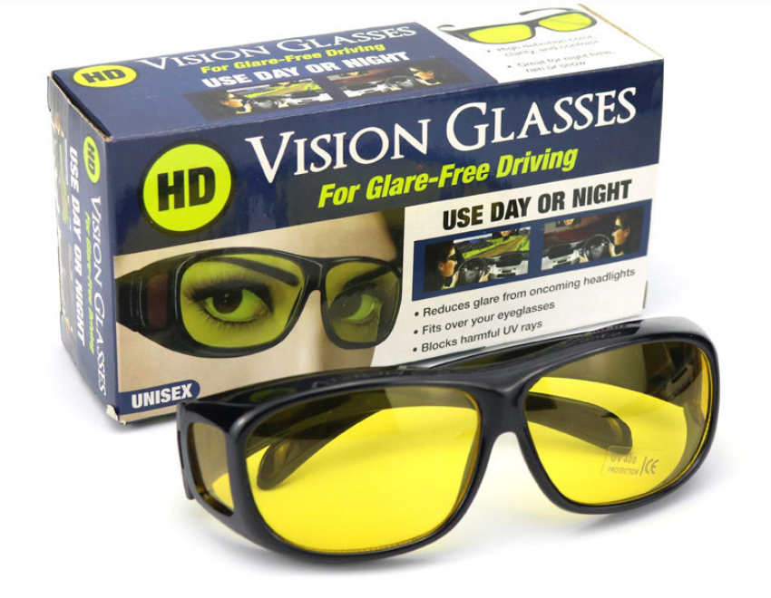 Окуляри HD Vision UV400 анти-фари для водіння жовті з поляризацією покращена оправа / панорамний огляд