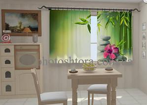 "Штори на кухню ""Листья бамбука в кухне"" 150 х 250 см"