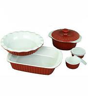 Набор керамической посуды Kamille для запекания 8 предметов Красный