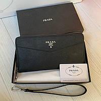 Мужской кожаный кошелёк-клатч Prada, фото 1