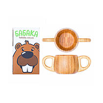 Дитяча чашечка з подвійною ручкою з натурального бамбука ТМ Бабака 180 мл - 223384