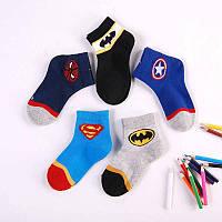 Набор (5 пар). Носки с логотипом Супергероев : Супермен, Спайдермен, Бетмен, Железный человек